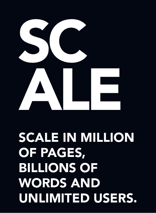 Scale in millions of pages, billions of words and unlimited users.