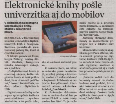 The article in Slovak periodical SME.sk